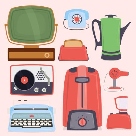 Retro vintage household appliances kitchenware antique technology utensil vector illustration.