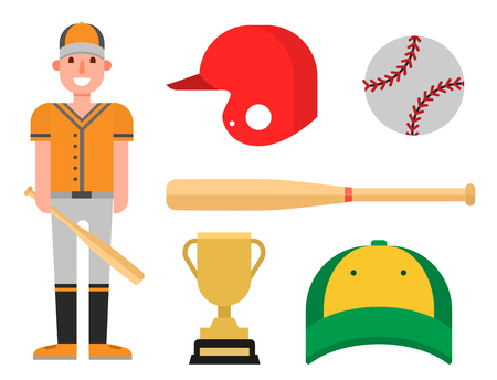 Cartoon baseball player icons batting vector design american game athlete sport league equipment