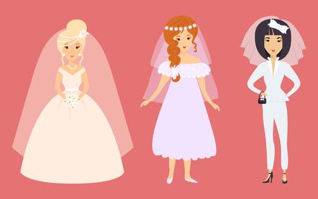 Hochzeits-Brautcharaktervektor-Illustrationsfeierheirat-Modefrauen-Karikaturmädchen-Weißzeremoniekleid Standard-Bild - 87902776