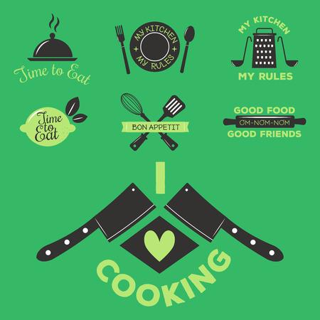 Bakery shop badges and cooking labels design classic kitchen elements set vector illustration. Stock Vector - 87884404