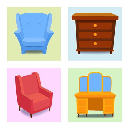 Meubles intérieur icônes maison design moderne salon maison canapé confortable appartement canapé vector illustration Banque d'images - 87812232