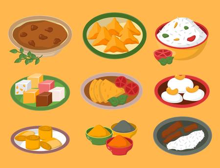 Indische kippenjalfrezi met rijst en plantaardige kerrie diverse van de het restaurant gezonde keuken van de Kruidkip het voedsel vectorillustratie.