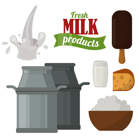 Dos produtos láteos orgânicos da bebida dos produtos láteos da leiteria leite de vidro saudável do creme da exploração agrícola da nutrição da nutrição do queijo fresco do vetor. Foto de archivo - 87884767
