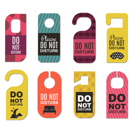 Please do not disturb hotel door quiet motel service room privacy concept vector card hang message .