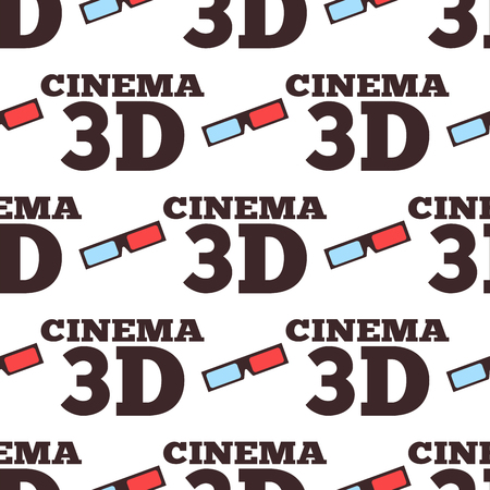 Cinema 3d vector illustration movie entertainment city theater seamless pattern.