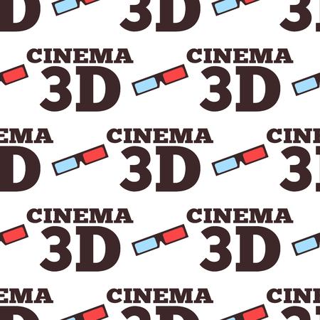 Cinema 3d vector illustration movie entertainment city theater seamless pattern.