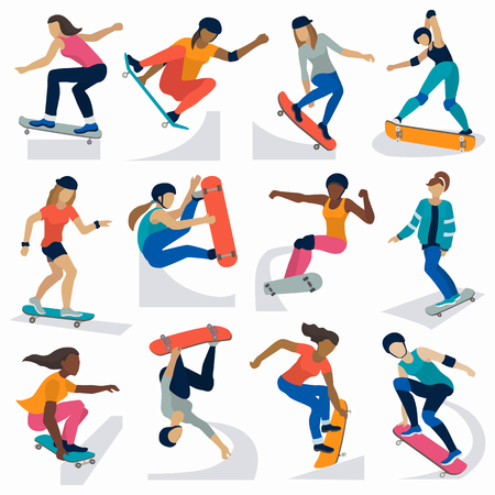 Young skateboarder active girls sport extreme active skateboarding jump tricks vector illustration.