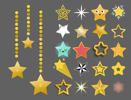Shiny star icons in different style pointed pentagonal gold award abstract design doodle night artistic symbol. Çizim