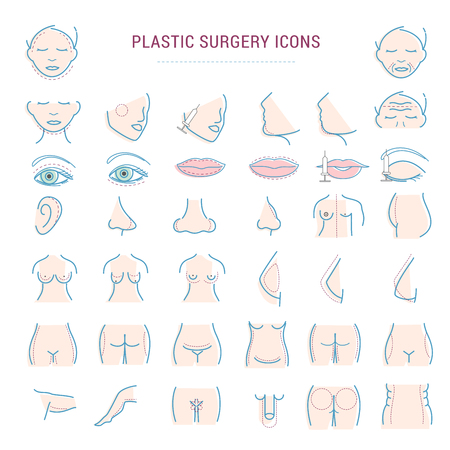 Plastic surgery face correction infographic icons woman body parts beauty health procedure vector illustration Illustration
