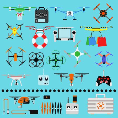 Voertuig drone quadcopter toezicht onbemande innovatie lucht drone vector vlieg apparaat