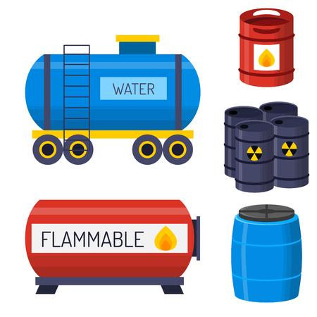 aceite de petróleo de contenedores de petróleo de barril de petróleo de tuberías de gas de los tubos de gas de los tubos de metal de metal de cinco ruedas de la ilustración del vector del ejemplo químico Ilustración de vector