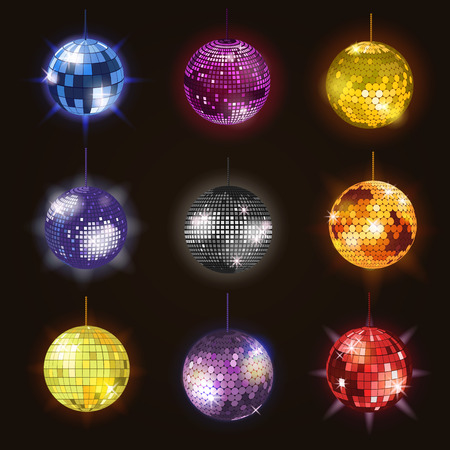 Disco balls discotheque dance music party equipment vector illustration of party night club dance