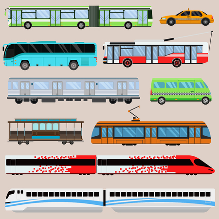 City transport set vector illustration.