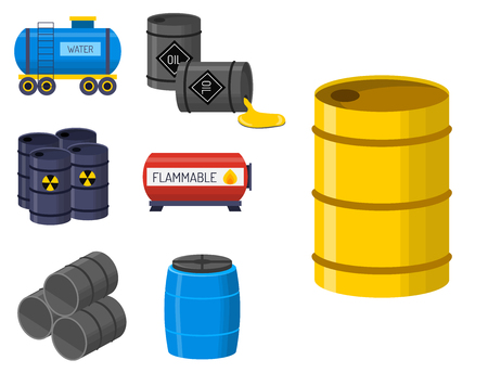 Oil drums container fuel cask storage rows steel barrels capacity tanks natural metal old bowels chemical vessel vector illustration Stock Illustratie