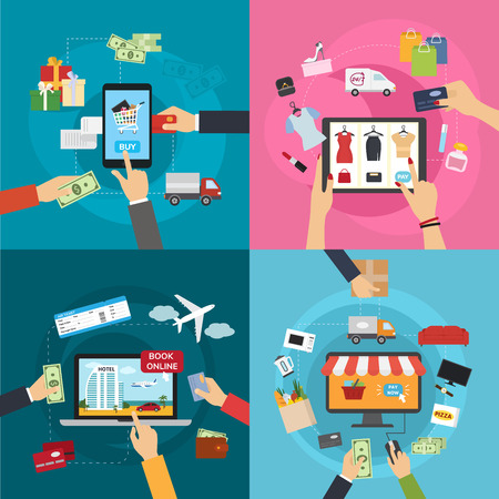 Concepts of online payment methods confirmed finance people hands mobile banking workplace vector illustration in flat style.