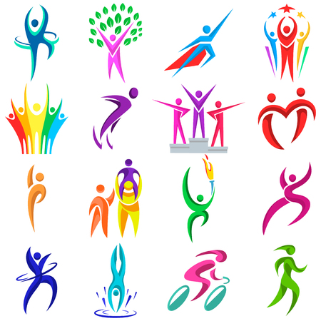 résumé des gens façonne des formes des icônes modernes logo concept design collection humaine collection illustration vectorielle