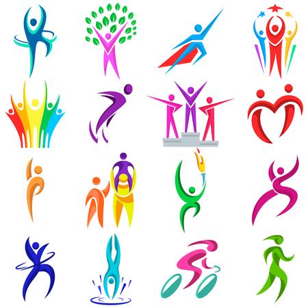 Résumé des gens façonne des formes des icônes modernes logo concept design collection humaine collection illustration vectorielle Banque d'images - 87746375