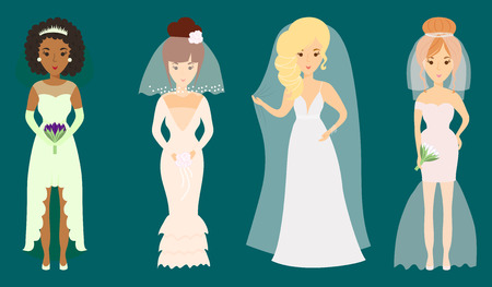 Wedding brides characters vector illustration celebration marriage fashion woman cartoon girl white ceremony dress