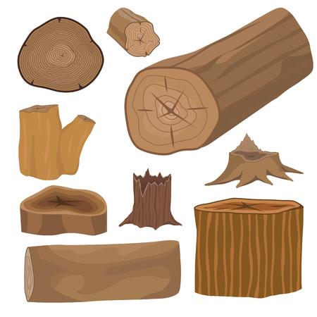 건설 쌓인 나무 소나무 목재 잘라 내기 그루터기 목재 나무 껍질 재료 벡터 세트 스톡 콘텐츠