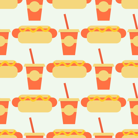 Appetizing hot dog sandwiches seamless pattern background with smoked frankfurters seasoned with mustard ketchup fresh wheat buns vector illustration. Use as fast food backdrop takeaway menu design