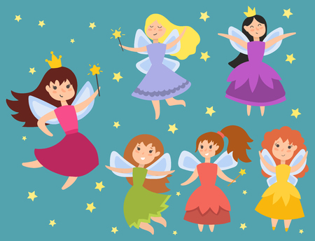 Fairy princess adorable characters Imagination beauty angel girls with wings vector illustration.