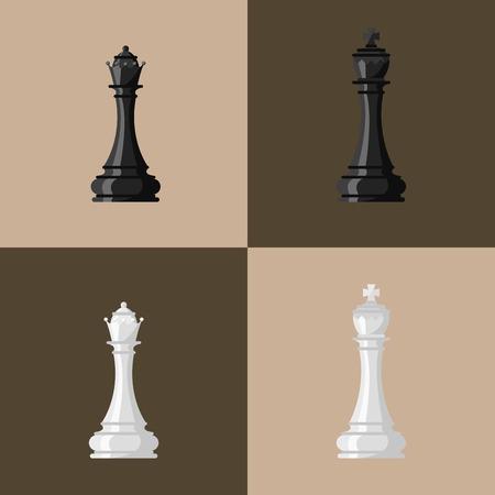 チェスのボード、チェスの駒のベクトル  イラスト・ベクター素材