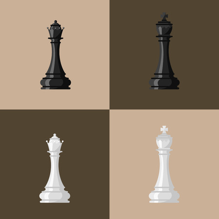 Chess board and chessmen vector