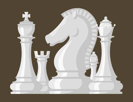 체스 판과 chessmen 벡터 일러스트