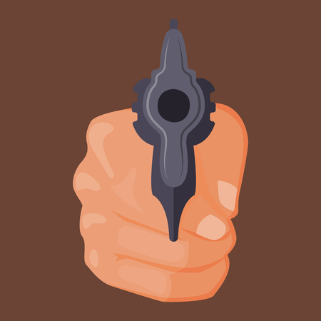 Hand firing with gun Stock Vector - 87754520