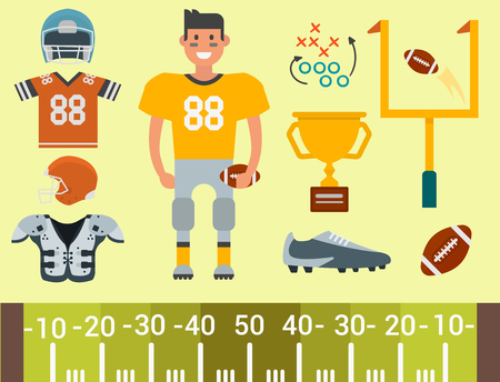 American football player and sport game icons vector