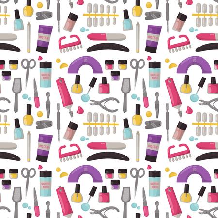 Manicure instrumenten naadloze patroon achtergrond