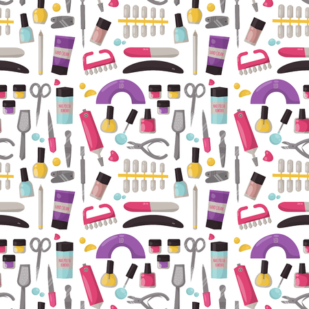 Manicure instruments seamless pattern background