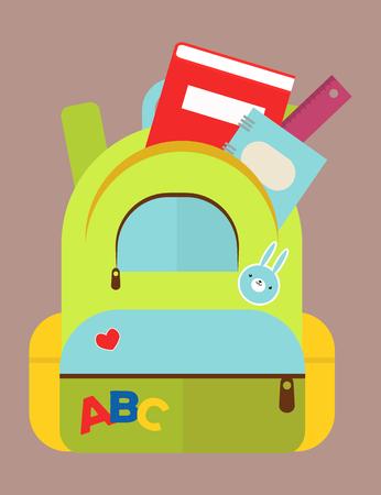 Schultasche Rucksack voller Vorräte Standard-Bild - 87754876