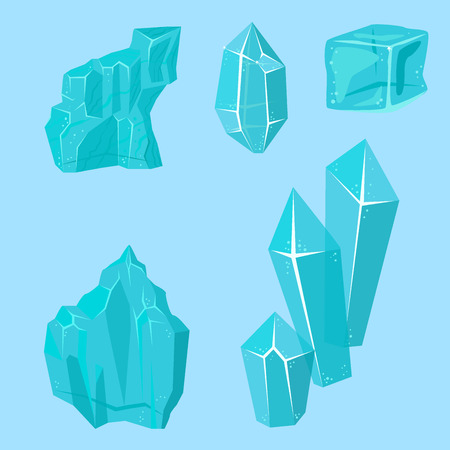Realistic ice caps snowdrifts and icicles Illustration