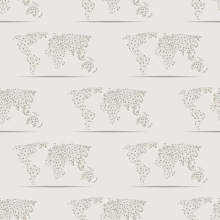 Maps globe Earth contour seamless pattern