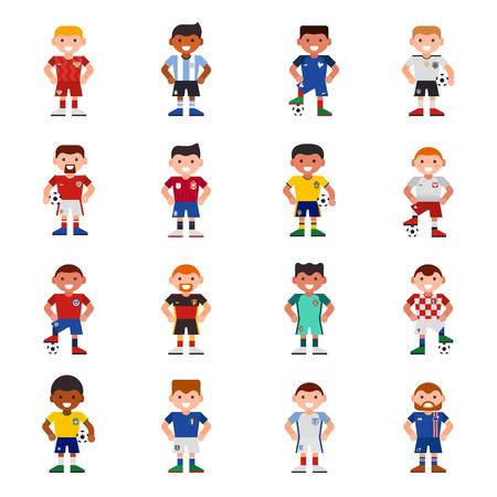 Os jogadores da equipa nacional de futebol de futebol Eurcup uniforme vector ilustração e mundo jogo capitão líder desportistas com personagens de futebol Foto de archivo - 87756690