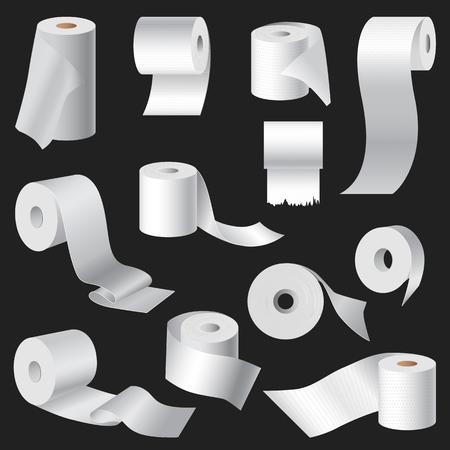Realistische wc-papier en keukenrol broodje sjabloon mockup instellen geïsoleerde vector illustratie lege witte 3D-verpakkingen Stock Illustratie