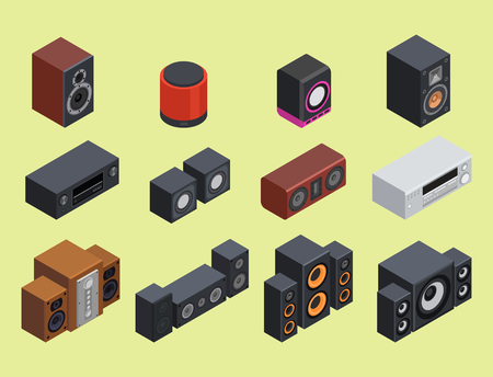 Home isometric sound system stereo flat vector 3d acoustic music loudspeakers player receiver subwoofer remote equipment technology illustration. Professional media entertainment tool. Illustration