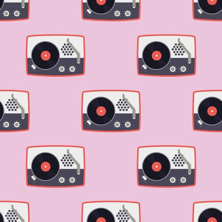 비닐 레코드 음악에 대 한 플레이어 평면 원활한 패턴 사운드 오디오 빈티지 축음기 벡터 일러스트 레이 션. 기술 비닐 턴테이블 스테레오 배경입니다.