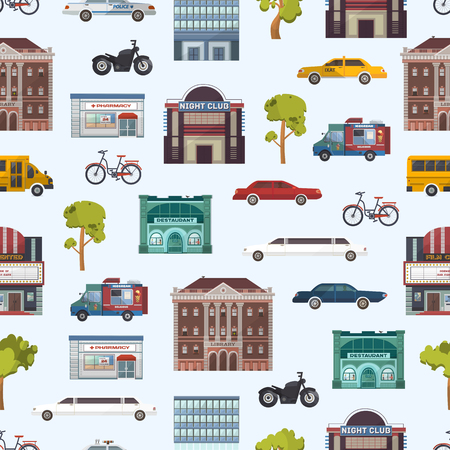近代的な都市の建物や交通機関のシームレスなパターン megapolice 町ベクトル イラスト