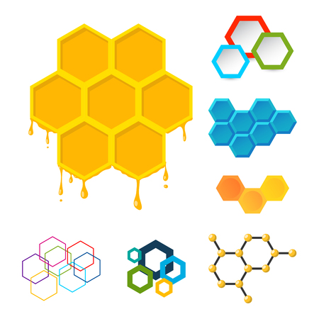 Vector linear hexagon logos and design elements different honeycombs abstract icons geometric modern business and technologies. Graphic set abstract collection. Banco de Imagens - 87810164