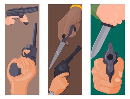 手を銃のカード保護の弾薬を発射します。ビジネス スタートアップ概念犯罪危険な武装クリップ暴力特別リボルバー。犯罪軍警察銃器手ベクトル。  イラスト・ベクター素材