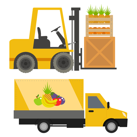 Trucks loader vector shipping cars vehicles cargo transportation by road. Delivery vehicle rail with forklifts. Flat style icons trailer lorry traffic illustration.
