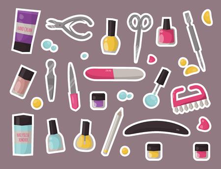 楽器セット衛生手ケア ペディキュア サロン ピンセット爪をマニキュアします。ファッション個人化粧品機器ベクトル イラスト。