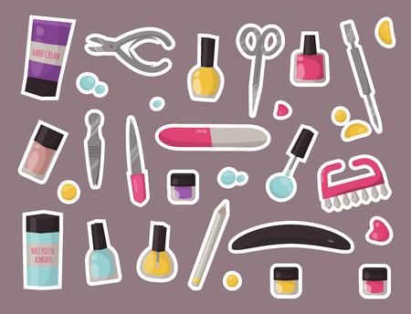 Manicure instruments set hygiene hand care pedicure salon tweezers fingernail. Fashion personal cosmetics equipment vector illustration. Ilustração