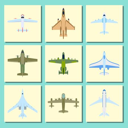 ベクトル飛行機イラスト面トップ ビュー旅客旅行カード航空機輸送の旅行休暇空デザイン旅国際オブジェクトへの方法。商業ツアー速度航空。