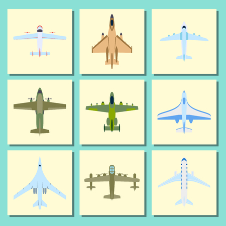 Vector airplane illustration plane top view passenger trip cards aircraft transportation travel way to vacation sky design journey international object. Commercial tour speed aviation.
