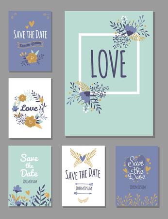 Wedding invitation card suite with flower templates day handmade lettering print layout design vector illustration. Greeting floral vintage celebration retro element