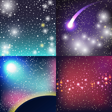 Starry outer galaxy cosmic space illustration universe background sky astronomy nebula cosmos night constellation vector realistic astrology. Ilustrace