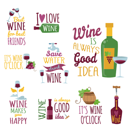 Hand drawn natural badges and labels for wine. Vector illustration restaurant alcohol menu sign. Drink banner graphic emblem.